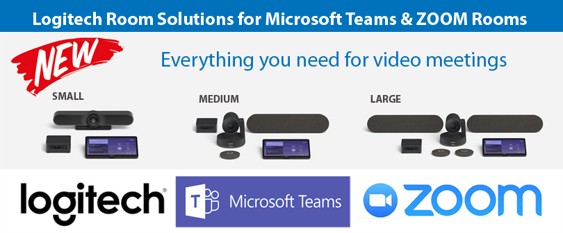 Pre-configured video conference room solutions for Microsoft Teams Rooms and Skype Room Systems available in small, medium and large configurations