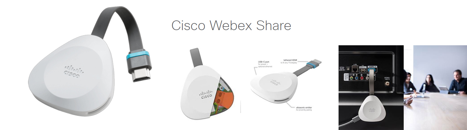Cisco Webex Share provides high-quality, cable-free content